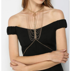 N-6814 2 Colors Gold&Silver Plated Necklace Statement Hollow Body Chain Beach Jewelry Accessories
