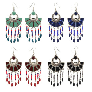 E-4106 4 Colors Boho Vintage Gypsy Pendant Dangle Bead Earrings for Women Jewelry