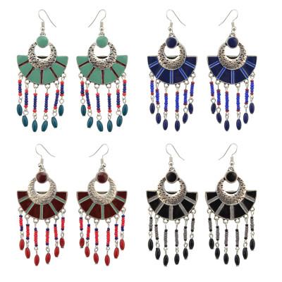 E-4106 4 Colors Boho Vintage Gypsy Pendant Dangle Bead Earrings for Women Jewelry