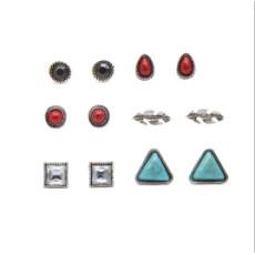 E-4119 3 Style 6PCS/Set Natural Stone Stud Vintage Alloy Stud Ear For Charm Women Jewelry
