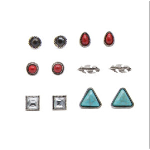 E-4119 3 Style 6PCS/Set Natural Stone Stud Vintage Alloy Stud Ear For Charm Women Jewelry