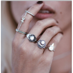 R-1450 5 Pcs/Set 2 StyleFashion Gypsy Vintage Silver Plated Stone Finger Ring Kncukle Rings For Women  Jewelry