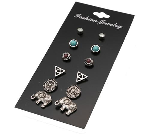 E-4118 6 Pairs /Set Wholesale Boho Heart Elephant Square Shape Stud Earrings For Women Crystal Resin Stone Earrings Sets