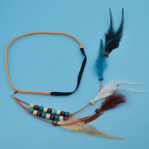 F-0407 Handmade Ethnic Tribal Gypsy Rope Wood Beads Feather Hairband Hair Clip For Women Jewelry