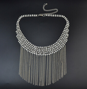 N-6817 New Fashion Women Silver Plated Clear Crystal Statement Necklace Long Tassel Beads Necklaces Boho Jewelry