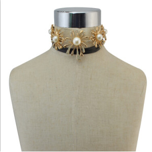 N-6821 1 color new fashion gold Plated Multilayer alloy long black leather Necklace Collar Clavicle Chain
