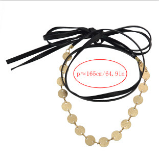 N-6827 2 Style Bohemian Gold Statement Necklace Carved Double Chain Choker Leather Necklaces Women Jewelry