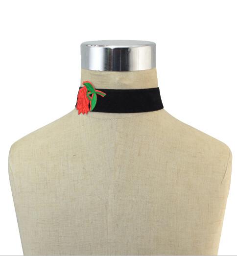 N-6829 3 Styles Boho Red Flower Thread Black Velvet Choker Necklaces For Women Party Jewelry Gift