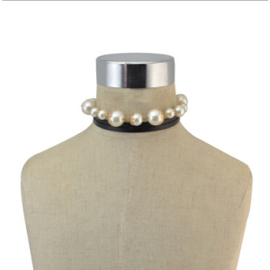 N-6828 New fashion Multilayer alloy Pearl long black leather Necklace Collar Clavicle Chain