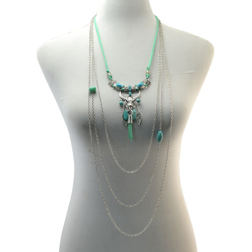 N-6826 Fashion Bohemia Long Multiple layers Turquoise Tassel Charm  Necklace for Women