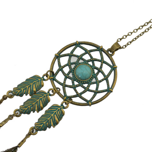 N-6831 Bohemian Retro Bronze Chain Feather Beads Tassel Long Necklace Women Jewelry