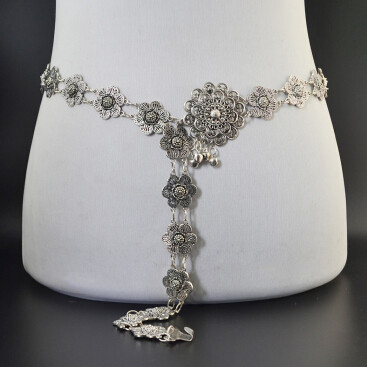 N-6834 Tribal Jewelry Gypsy Boho Silver Plated Alloy Carved Flower Belly Chains Women Dance Waist Chain Summer Beach Jewelry