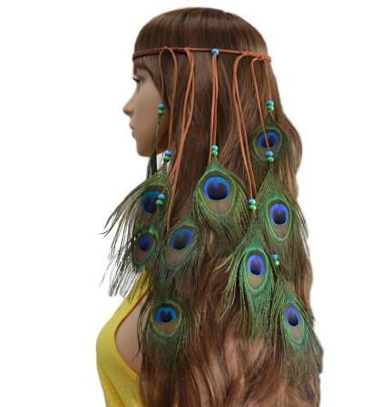 F-0409 Handmade Ethnic Gypsy Rope Peacock Feather Hairbands Women Boho Hippie Party Hairband Hair Accessory