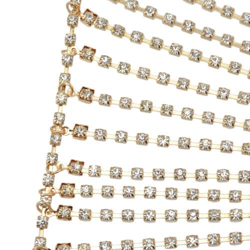 N-6840 Fashion Bohemian Gold plated Crysatl Body Chain Sexy Bra for Women Jewelry