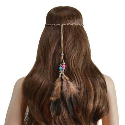 F-0414 2 Colour Handmade Ethnic Gypsy Rope  Feather Hairbands Women Boho  Hairband Hair Accessory