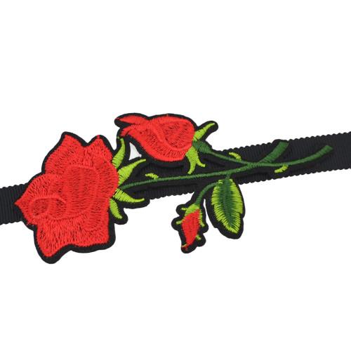 N-6837 New Arrival Boho Red Flower Thread Black Velvet Choker Necklaces For Women Jewelry