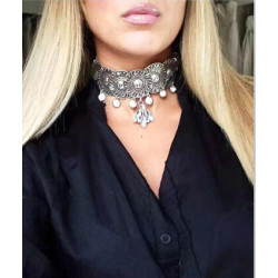 N-6842 Vintage Silver Gold Plated Choker Necklace Inlay Crystal Rhinestone Women Statement Necklace Fashion Jewelry