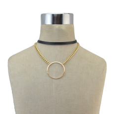 N-6844 Fashion Gold Silver plated Bohemian Leather  Choker Collar Chain Necklace for Women Jewelry