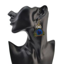 E-4115 New Fashion Owl Feather Drop Earrings Bronze Plated Tassel Party Earring Women Jeelry Gift