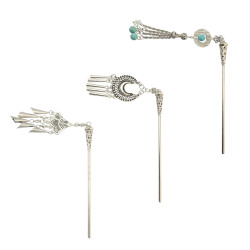 F-0415 3Style Fashion Vintage Silver Plated Tassel Hair Stick Accessories Hairpin for Women Jewelry