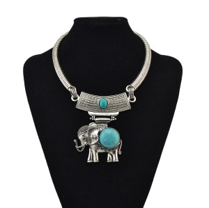 N-6849 New Arrival Silver Plated Elephant Pendant Choker Necklace  For Women