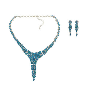 N-6846 New Fashion Full Blue Rinestone Crystal Statement Necklace Earring Jewelry Sets For Women Bridal Party Jewelry