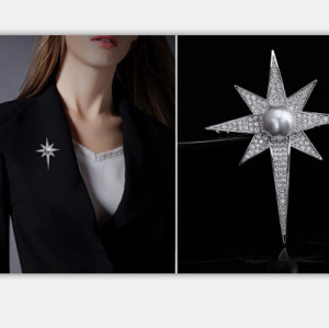 P-0371 Retro Silver Brooch Pins Pearl Starfish Rhinestone Brooches for Man Women