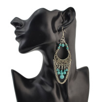 E-4120 Fashion Vintage Silver plated Hook Tassel Turquoise Bead Chain Earring for Women Jewelry