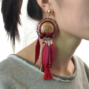 E-4122 3 color Bohemian Feather Crystal Beads Big Hooks Drop Earring With Tassel Punk Style
