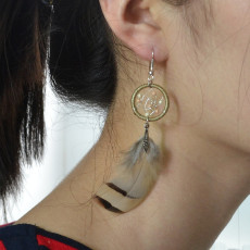 E-4121 Vintage Antique Silve Plated  Fashion Long Tassel Feather  Drop Dangle Hook  Charm Colorful Bead Earrings For Women Jewelry