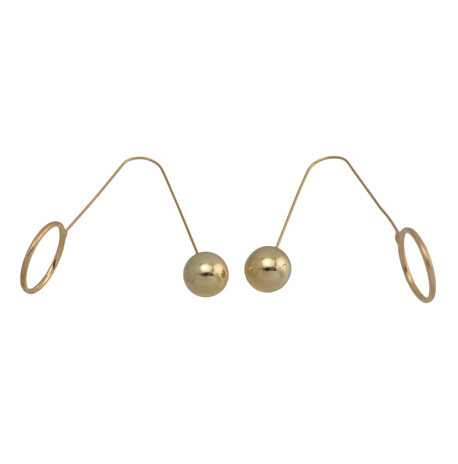 E-4137 2 color Fashion Trendy Gold Silver Plated Circle Beads Hook Earring for Women Party Gifts