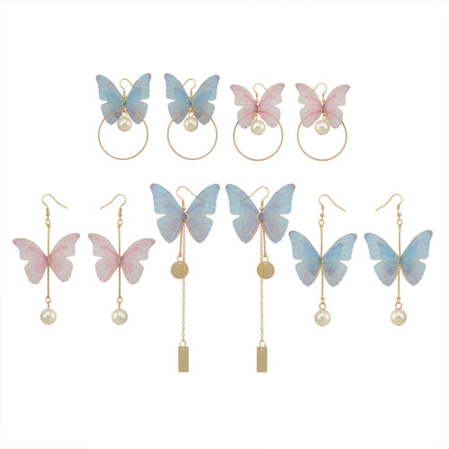 E-4135 3Style New Fashion Gold Plated  Pearl butterfly Tassel Long Drop Earring For Women