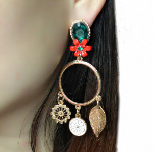 E-4126 New Trendy Gold Plated Green Crystal Leaf Pendant Drop Dangle Earrings For Women Bohemian Party Jewelry