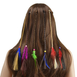 F-0417 6 Pcs/set Handmade Ethnic Tribal Rope Woven Colorful Feather Hairband Hair Clip Women Hair Accessories Jewelry