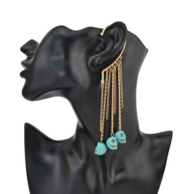 E-1185 New Punk Fashion Gold Plated Metal Tassel Blue Skull Pendant Ear Cuff
