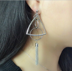 E-4125 New Fashion Silver Alloy Tassel Drop Pendant Round Triangle Ear For Women Jewelry Earring