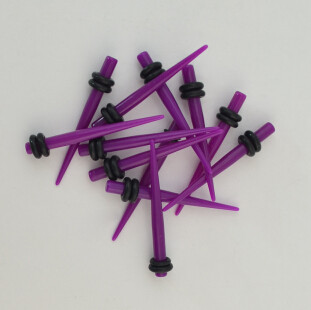 3MM 4MM 5MM 8MM Gauge Piercing Purple Taper Stretcher Expander Ear Plug Lots 12Pcs I-0029