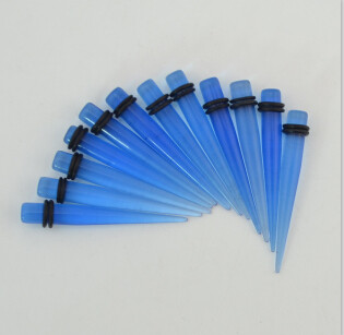 Multi Gauge Blue Taper Stretcher Expander Ear Plug Body Piercing Lots 12Pcs I-0028