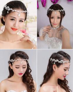 F-0418 Luxury Vintage Silver Wedding Crown Alloy Bridal Tiara Baroque Queen Crown rhinestone tiara crown