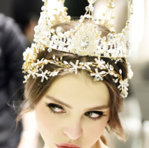 F-0419 Vintage Luxurious Handmade Shiny Hair Clip Crystal King Queen Crown Accessories