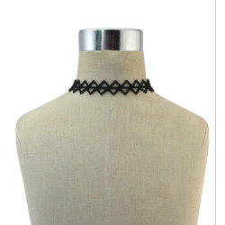 N-6855 4 Styles New Fashion Black Hollow Leather Choker Necklaces For Women Boho Wedding Party Jewelry