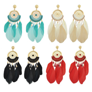 E-4142 New Arrival Bohemian Feather Drop Earrings For Women Long Tassel Earring Fashion Jewelry