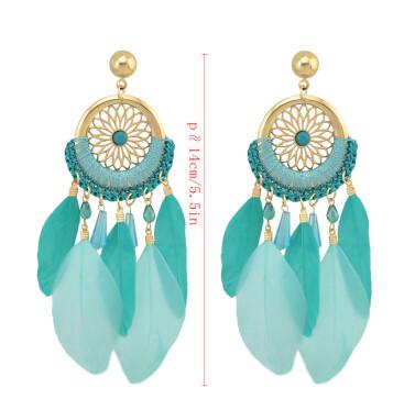 E-4142 New Arrival Bohemian Feather Drop Earrings For Women Long Tassel Earring Fashion Jewelry