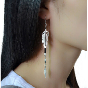 E-4141 New Fashion Silver Color Leather Feather Dangle Drop Earrings Party Jewelry