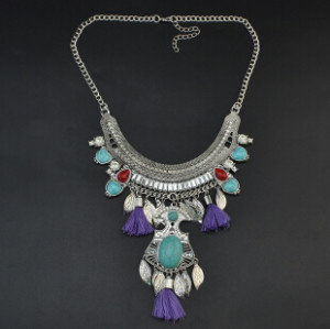 N-6859 3 Colors New Arrive Bohemian Silver Chain Carved Leaves Tassel Tassel Diamante Pendant Necklace for Women Jewellery