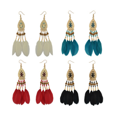 E-4144 4 Colors Feather Drop Earrings for Women Bohemian Gold Color Alloy Long Earring Ethnic Jewelry