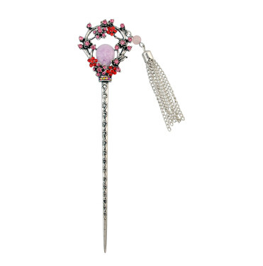 F-0427 Vintage Silver Plated Alloy Hairpin Fashion Ethnic Tribal Rhinestone Peacock Headwear for Women Hair Jewelry