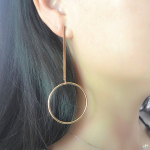 E-4139 New Fashion Gold Silver Color Circle Round Drop Earrings Statement Earring Party Jewelry