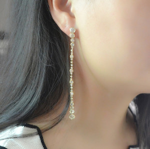E-4140 EFashion Korea Style Luxury Chain Charm Crystal Rhinestone Dangle Earring for Women Jewelry
