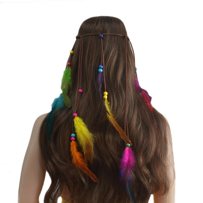 F-0421 Fashion Handmade Ethnic Gypsy Rope  Feather Hairbands Women Boho  Hairband Hair Accessory